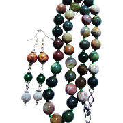 SALE Green Veined Agate Pendant & Fancy Jasper/Indian Agate Knotted Bead Necklace
