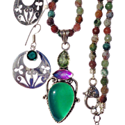 SALE Chalcedony & Topaz Pendant on Indian Agate Bead Necklace/Green Sterling Earrings