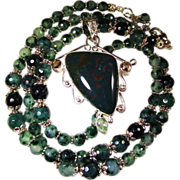 """SOLD """"New Bloodstone"""" Pendant on Faceted Moss Agate Bead NecklaceAnd Agate Earrings"""