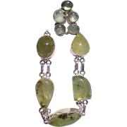SOLD Prehnite Necklace/Bracelet/Earrings/Ring Size 8 1/2 Set