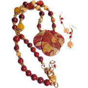 SOLD CLEARANCE Brecciated Jasper,  Citrine & Carnelian Necklace & Earring Set