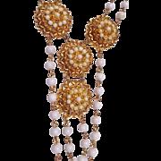 SALE Vintage Gold Tone Florenza Necklace & Clip-on Earring Set