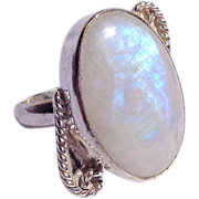 SOLD Rainbow Moonstone & Sterling Silver Ring Size 7