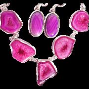 SOLD 5 Fuchsia Druzy Necklace & Botswana Agate Earring Set