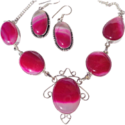 SALE Fuchsia Agate Necklace/Earring Set