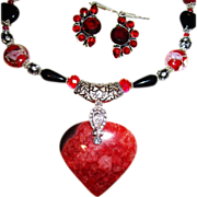 SOLD Red Druzy Heart with Lampwork Beads & Earring Set