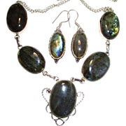 SOLD Opalescent Labradorite & Sterling Silver Chain Necklace & Earring Set