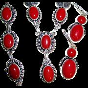 SOLD Coral & Sterling Necklace, Bracelet & Earring Set