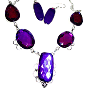 SOLD Purple Color Changing Crystals Set in Sterling Silver, Necklace & Earring Set