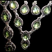 SOLD 3pc. Green Topaz Necklace, Bracelet & Earring Set