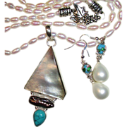 SOLD Mother of Pearl Shell, Biwa Pearl & Turquoise Pendant on Freshwater Pearl Necklace &a