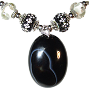 SOLD Natural White Heart in Black Onyx/with Lampwork Beads/Rhinestone Necklace/Bracelet/Earrin