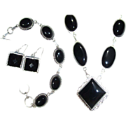 SALE Onyx Necklace/Bracelet/Earring Set