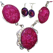 SOLD Fuchsia Druzy Necklace/Dichroic/Earring Set