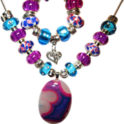 SOLD Fuchsia/Blue Druzy, Murano Style Bead Necklace/Bracelet Set