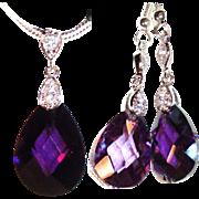 SALE PENDING Amethyst Crystal Teardrop Necklace/Earring Set
