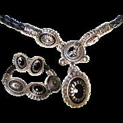 SALE Vintage 3 Pc. Leather/Concho, Necklace/Bracelet/Earring Set