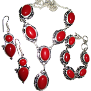 SOLD Coral Colored Stones, Sterling Necklace, Bracelet, Earring Set