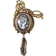 SALE Vintage Black Cameo/Watch Pendant with Chain