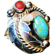SALE Vintage Navajo, Turquoise, Coral, Silver Ring Sz.11 1/2