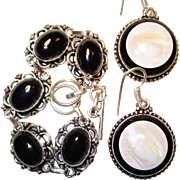 SOLD Black Onyx Bracelet/Onyx/Mother of Pearl Earrings/ Set