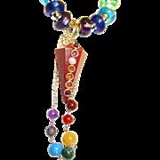 SOLD Brecciated Jasper Pendulum Chakra Colors/Lampwork Beads/Sterling Necklace