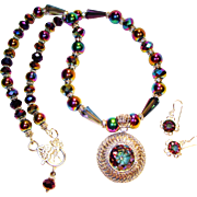 SALE Mystic Topaz with Swarovski Crystal Necklace/Earring Set