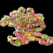 SALE Vintage Swarovski Pastel Bezel Set Crystal Necklace, Bracelet/Earring Set