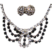 SALE Vintage Black and White Rhinestone Necklace/Earrings