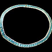 SOLD Vintage Art Deco Period Silver Tone Aqua Rhinestone Line Necklace