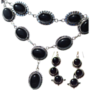 SOLD Black Onyx Necklace, Bracelet, Earring Set