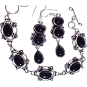 SALE Black Onyx Bracelet and Earring Set