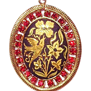 SALE Vintage Gold Tone Bird on Black Enamel/ Red Rhinestone Pendant/Chain Necklace
