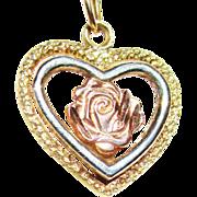 SALE Vintage 14k  Tri-Colored Gold Heart/Rose Pendant