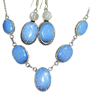 SOLD Sparkling, Glitter, Opalescent, Dichroic Glass Necklace and Earring Set