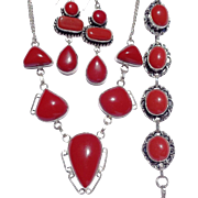 SOLD Coral Colored Stones, Sterling Necklace, Bracelet & Earring Set