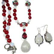 SALE Moonstone and Red Agate Necklace/Earring Set