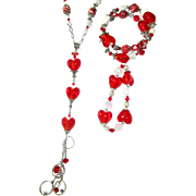 SOLD Red and White Heart Necklace with 2 Bracelets