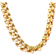 Vintage Gold Tone Leaves and Pearl Necklace