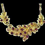 Vintage Coro Gold Tone/Purple Necklace