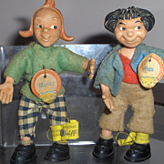 Rare Vintage Steiff  Max & Moritz Character Dolls All Original w/Tags and Buttons