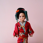 SALE Rare  German Bisque Character Asian Lady  Portrait Doll  All Original Fantastic