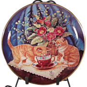Tea for Two Cat Collector Plate by K. Duncan