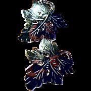 SALE Vintage Sterling Silver Leaf Screw Back Earrings