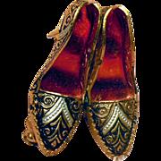 SALE Vintage Red Black and Gold Damascene High Heel Shoes Pin