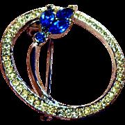 SALE Beautiful Clear and Blue Rhinestone Circle Pin
