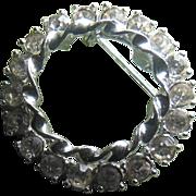 SALE Beautiful Clear Rhinestone Double Circle Pin