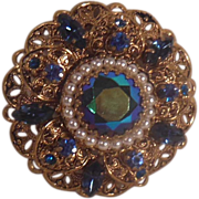 SALE Blue and Green Rhinestone Faux Pearl Gold Tone Domed Circle Pin