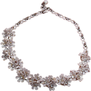 SALE Vintage White Flower and Clear Rhinestone Choker