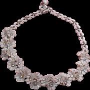 SALE Vintage White Flower and Clear Rhinestone Choker